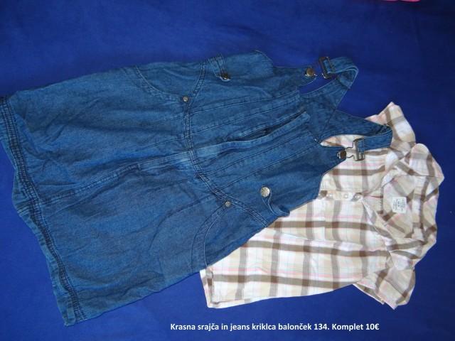 Jeans krilo in bluzica 134