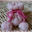 Pleteni copatki s cofki - roza