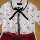 next komplet 6let, žametno krilo s pasom in bluzica s pentljo- 16€