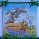 Tom in Jerry za našega mojstra. Servetna tehnika na lesu prekritem s platnom (15x20). Okra