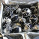 Komplet - modro srebrne patchwork kroglice za drevesce