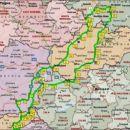 Okviren načrt poti, ki smo jo prevozili v petih dneh.  Bilo je okoli 1800 km.