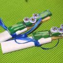 Ščipalke za spomin - pobarvane z akrilnimi barvami, zadaj magnetek, spredaj spominčice iz