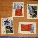 ... Osnova je fotokarton, na njej so kot kolaž nalepljeni ostanki...