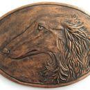 Borzojeva glava (patinirana z bronzo)